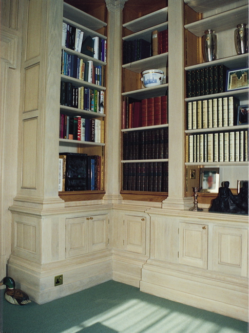 Large oak library with panelling & hand carving