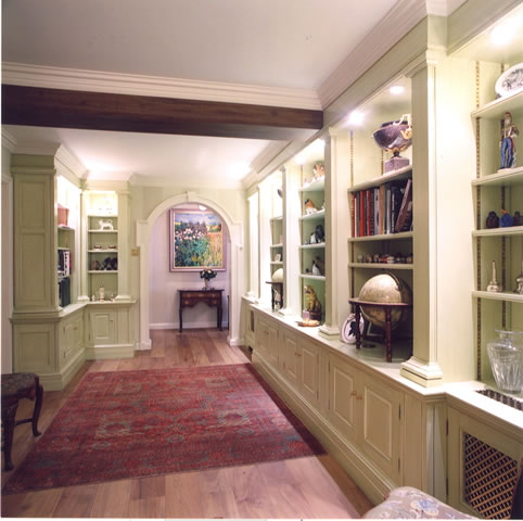 Painted library bookcases, integral lighting