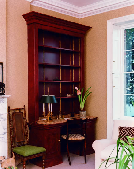 Painted bookcases incorporating desk area