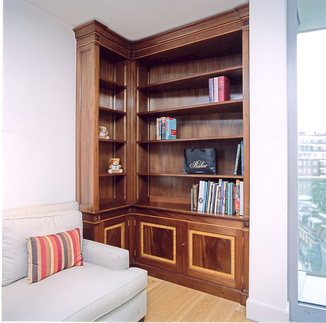 Mahogany & satinwood bookcases to city apartment