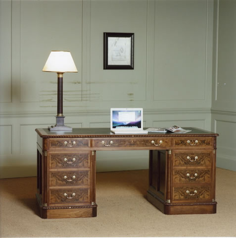 Walnut desk, hand dovetailed, solid oak drawers