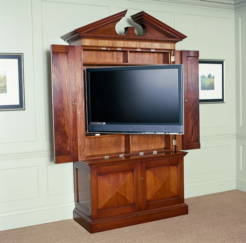 Built to accommodate AV, shown angled by remote control