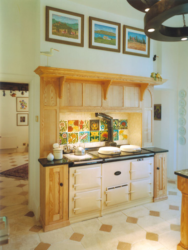 Overmantle & cabinets.