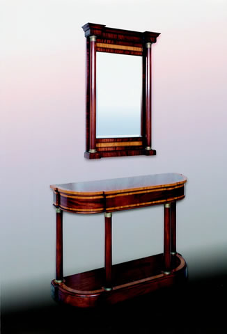 Console table, matching mirror, in mahogany & satinwood
