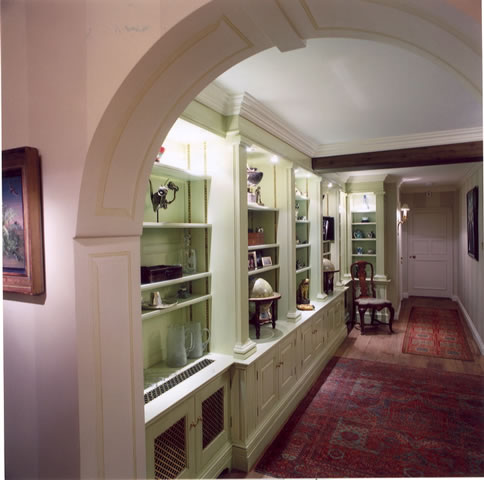 Painted library bookcases with integral lighting