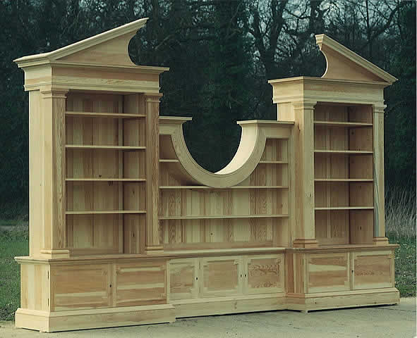 One of a pair of bookcases in Scots pine, for historic property