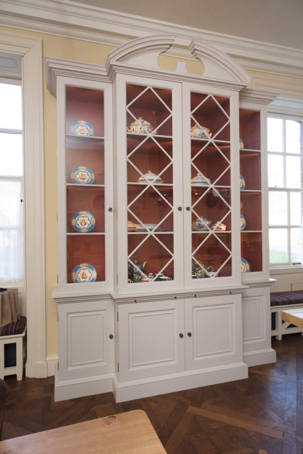 Painted breakfront bookcase to house china