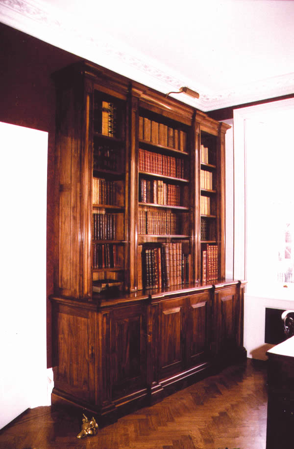 Solid walnut library bookcases for London residence